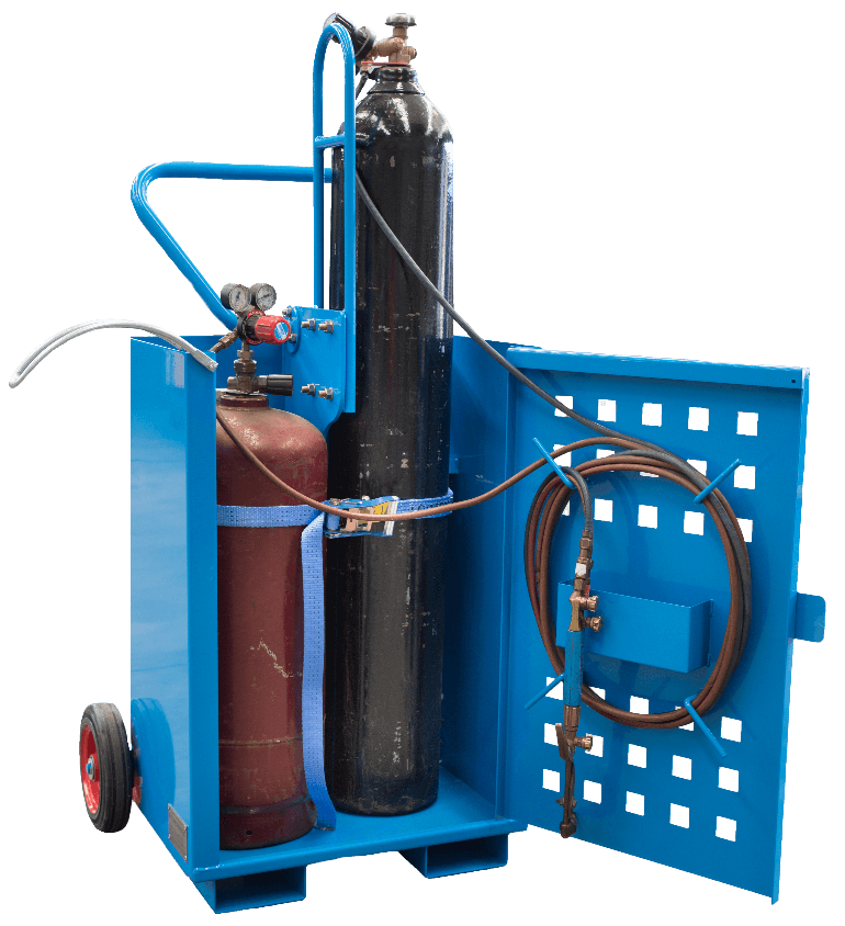 Transportable gas bottle trolley