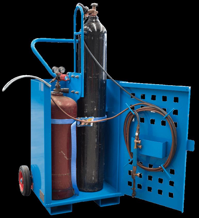 Transportable gas bottle trolley